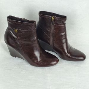 FRANCO SARTO Brown Faux Leather Wedge Ankle Boots